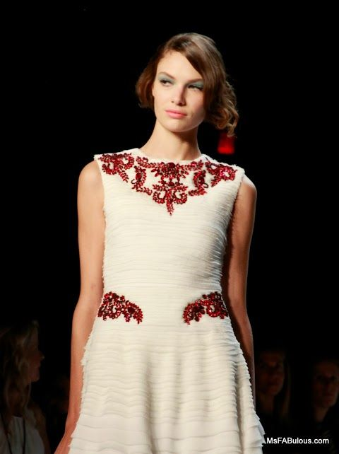 Ruby crystal embroidery at Badgley Mischka Spring 2014