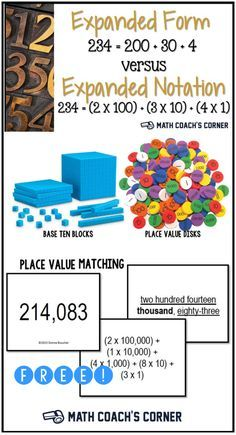 expanded form versus expanded notation  Expanded Form vs Expanded Notation | Math RtI | Expanded ...