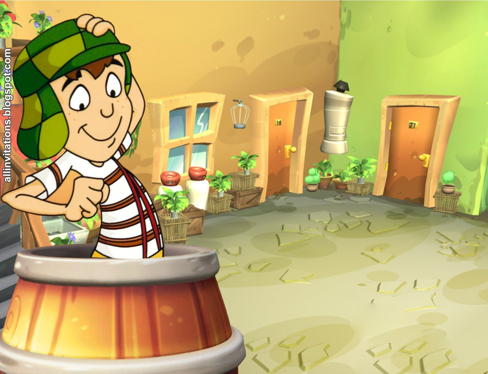 Planttilla Invitacion Chavo Del 8 Animado Invitaciones