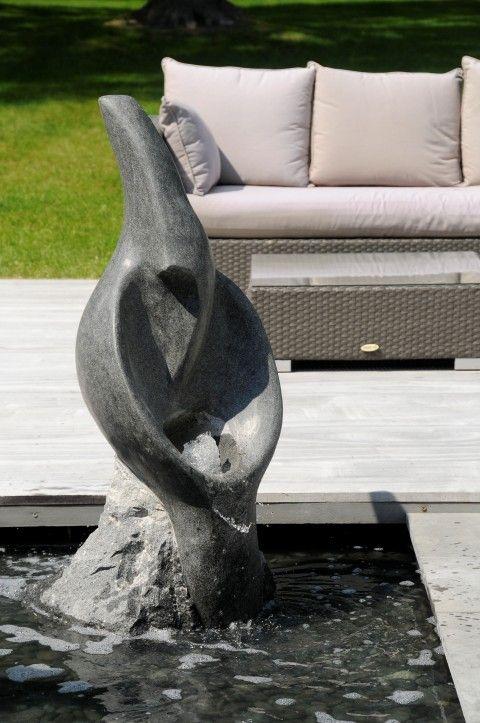 La waterstone Narcisse, fontaine de jardin en pierre de granite bleu ...