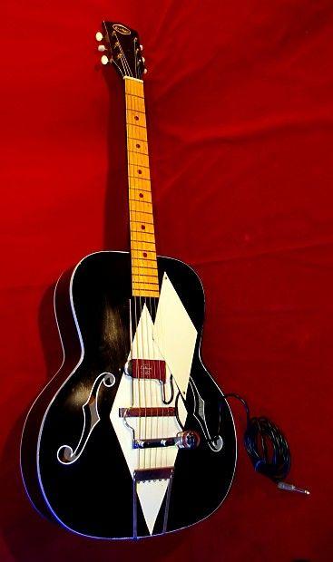 Airline White Diamond Deco 1954 Black White Acoustic With De Armond Pickup Super Cool Great Retroverb Music Inc Reverb Vintage Electric Guitars Cool Stuff Acoustic