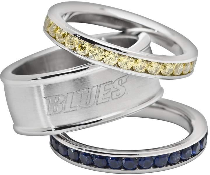 Logoart St Louis Blues Stainless Steel Crystal Stack Ring Set