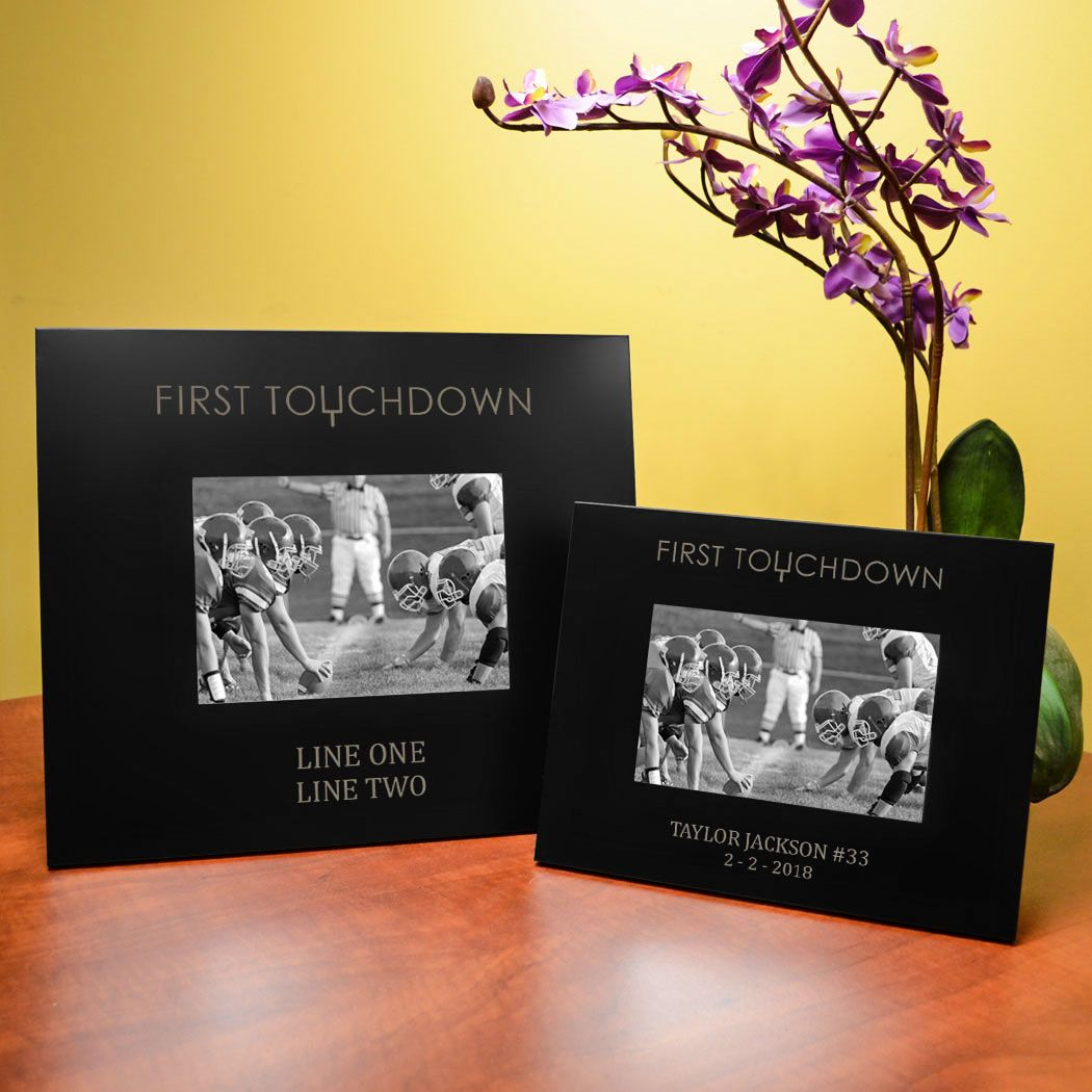 Personalized Football Picture Frame First Touchdown 5x7 Metal Photo Frame Boys Football Room Decor Engraved Picture Frames Picture Engraving Picture Frames