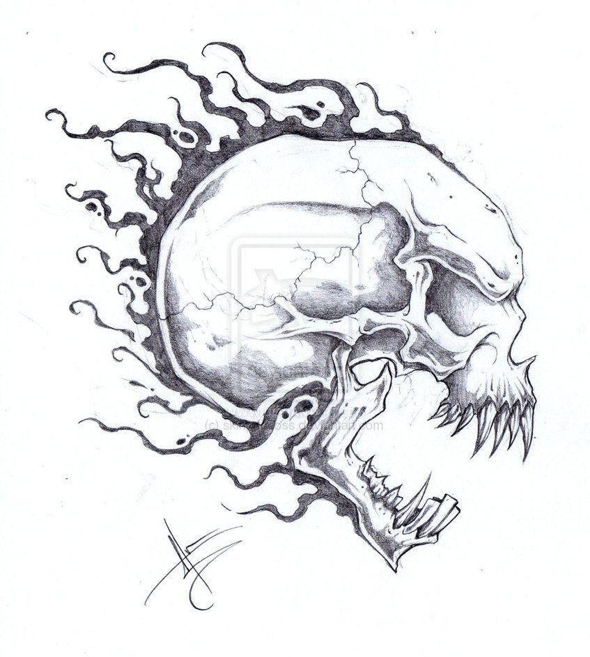 Cool skull tattoo drawings