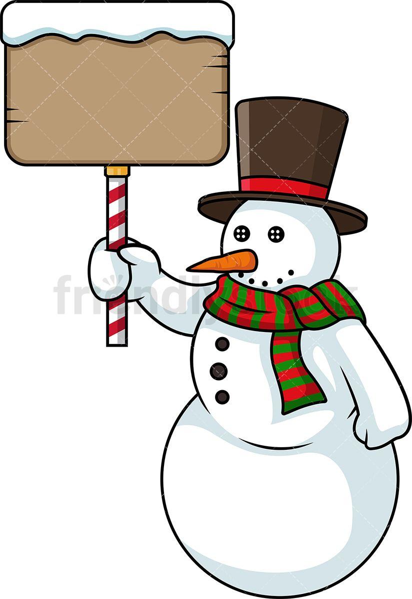Snowman cartoon. Holding sign christmas vector