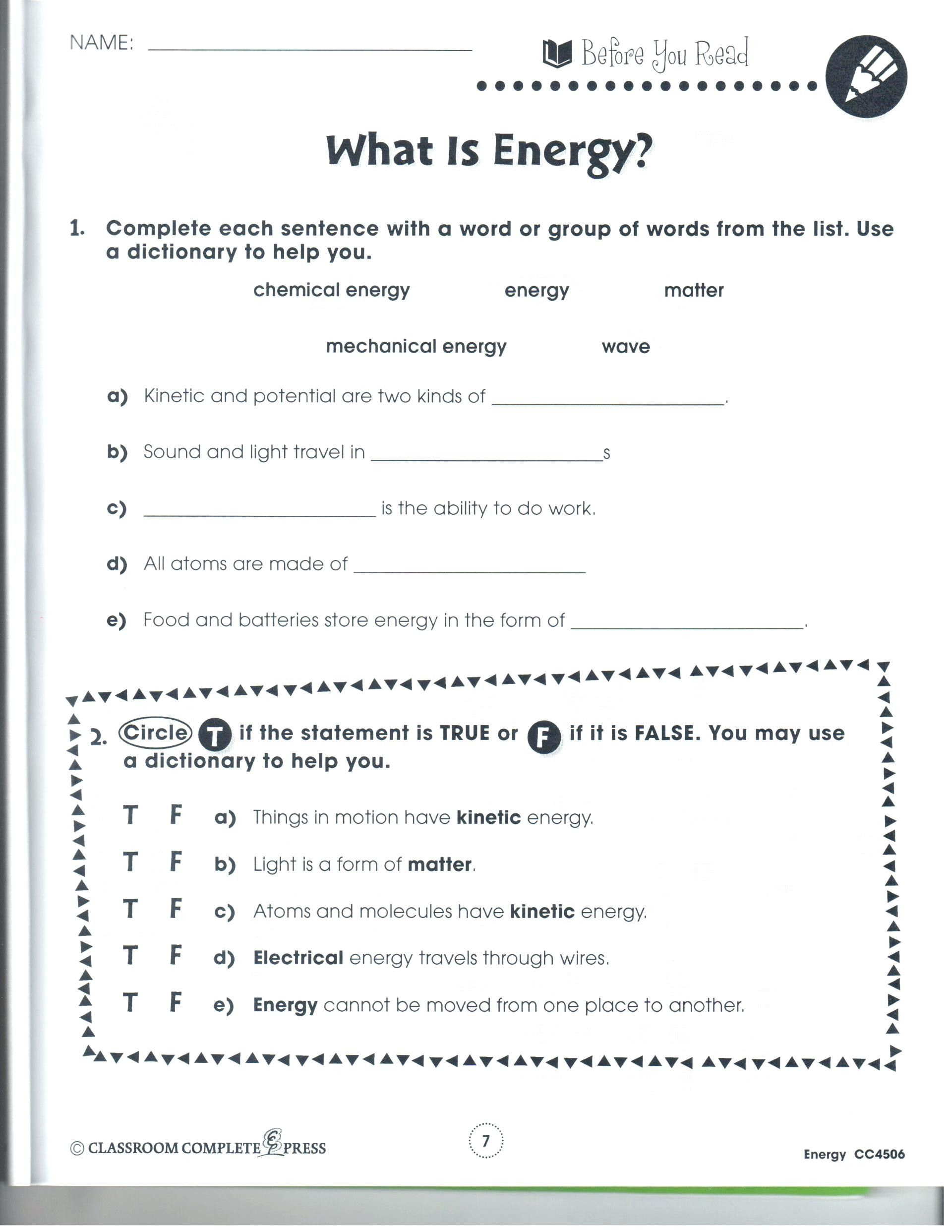Linearlinear Energy Transformation Worksheet Answers