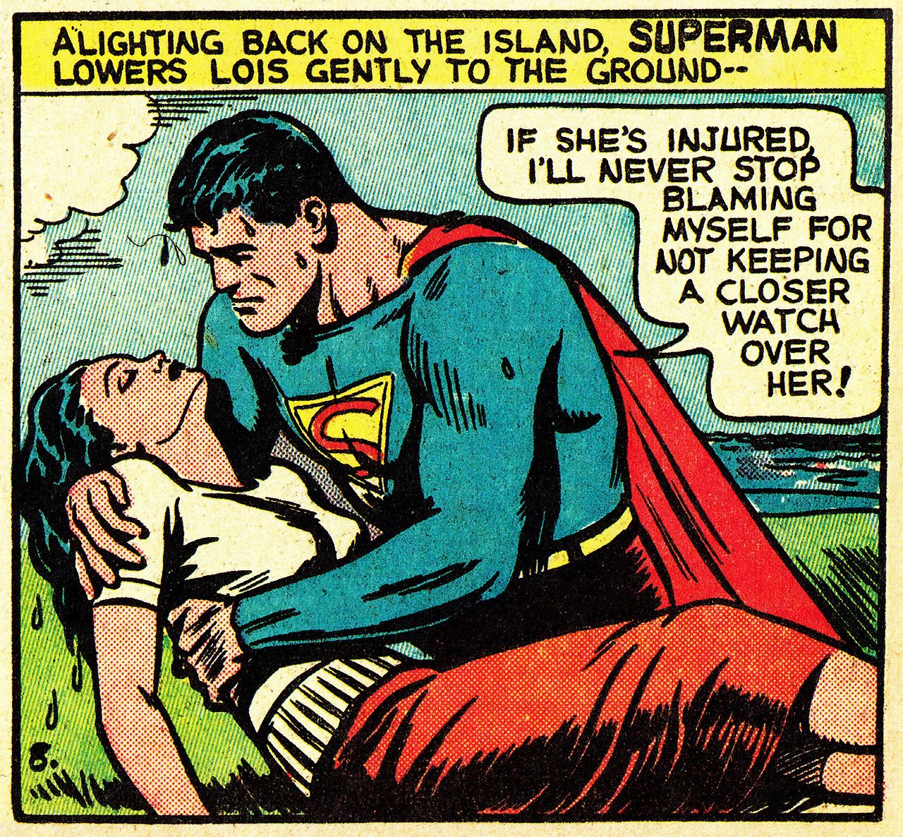 Superman's rescue of a drowning of Lois Lane is one of the most vivid story pages of the Golden Age, a tribute to Jack Burnley's...