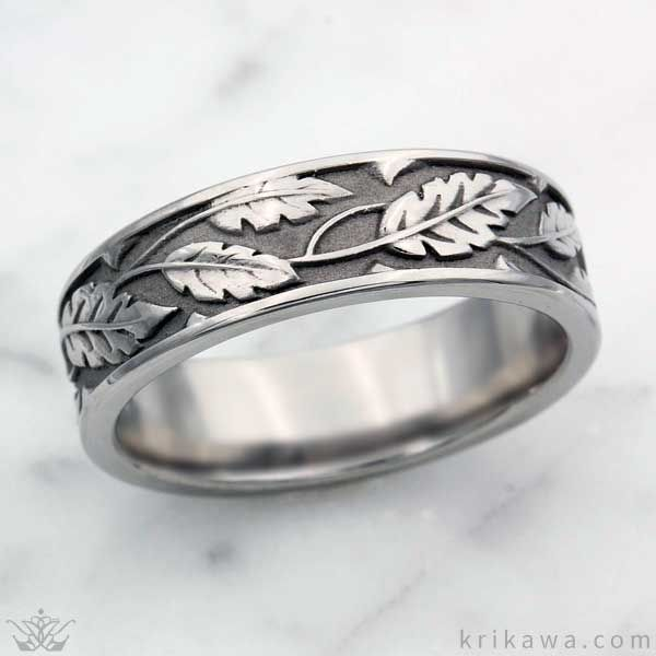 Rose Leaf Wedding Band In Stainless Steel A Beautiful