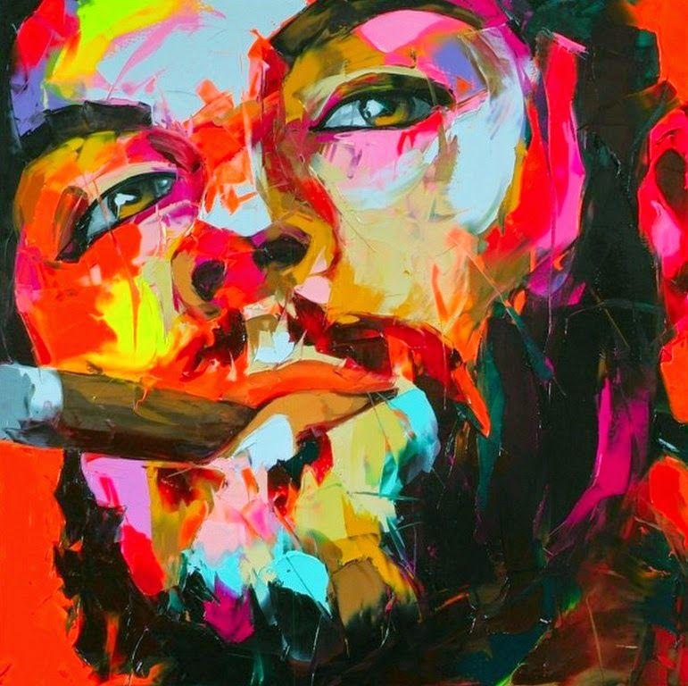 Pintura Y Fotografía Artística Rostros Humanos Pintados Con Espátula Francoise Nielly Francia Retrato Abstracto Arte Del Jazz Arte Abstracto