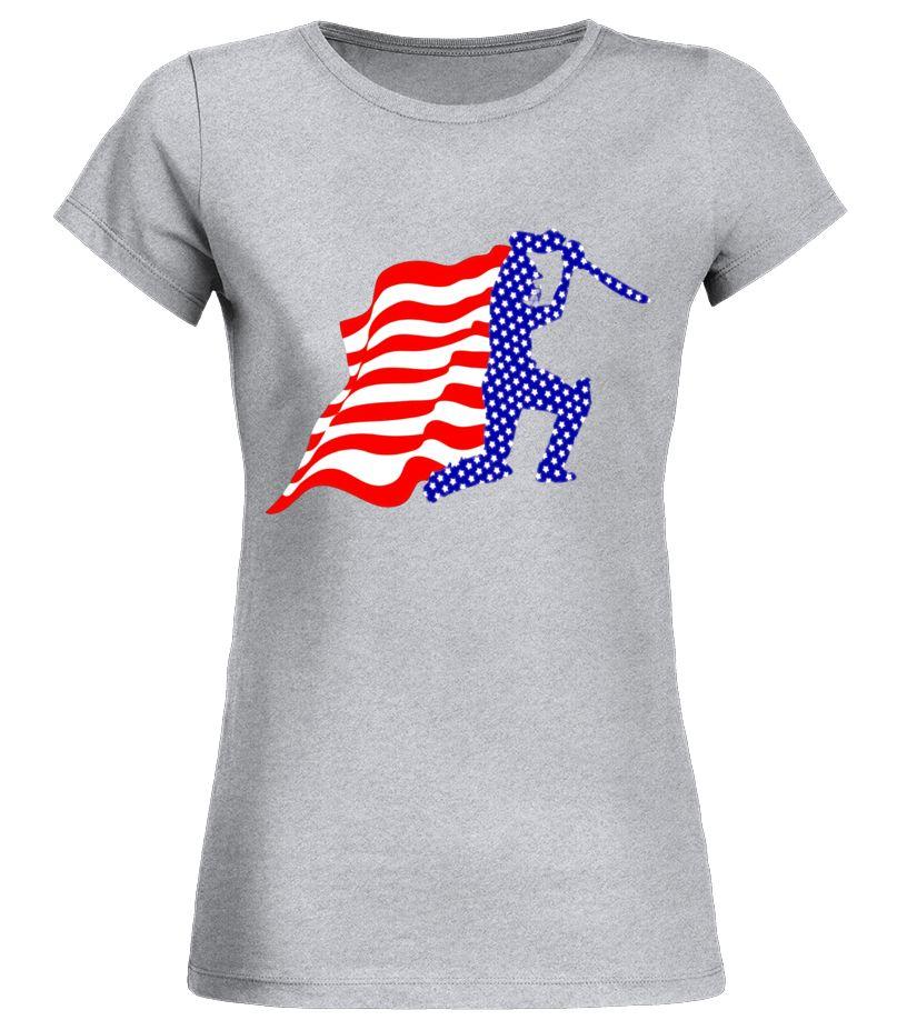 Cricket USA Flag TShirt Fourth Of July cricket shirt