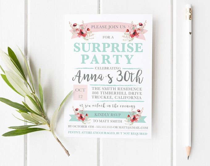 Surprise Party Invitation Template  Surprise Birthday Party