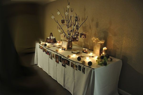 Memory Table I Like The Branch Idea Incorporate Butterflies Would Be Good Too Memory Tree Funeral Memorial Memory Table