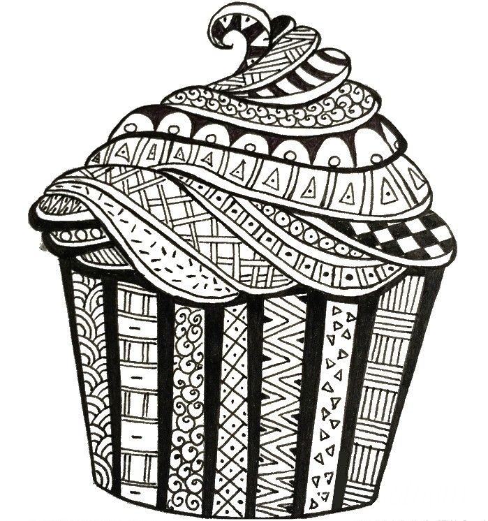 Adult coloring page Happy Birthday : Birthday cake 3 ...