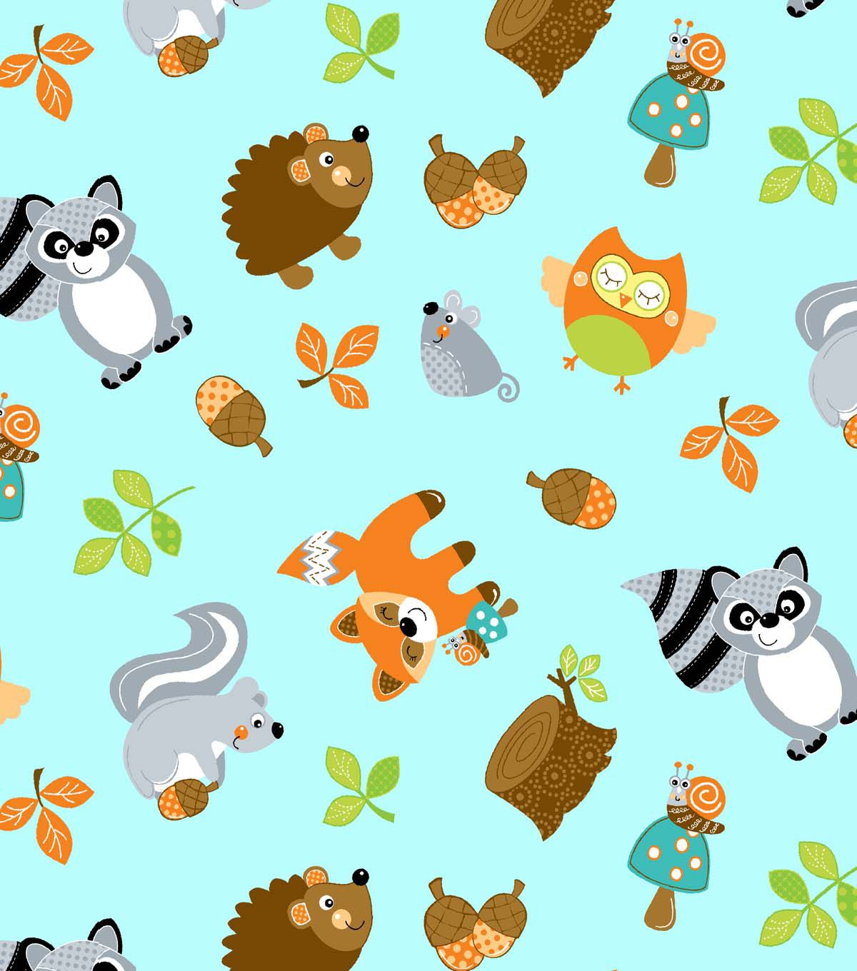 Nursery Fabric Woodland Friends Tossed Teal Teal Friends and