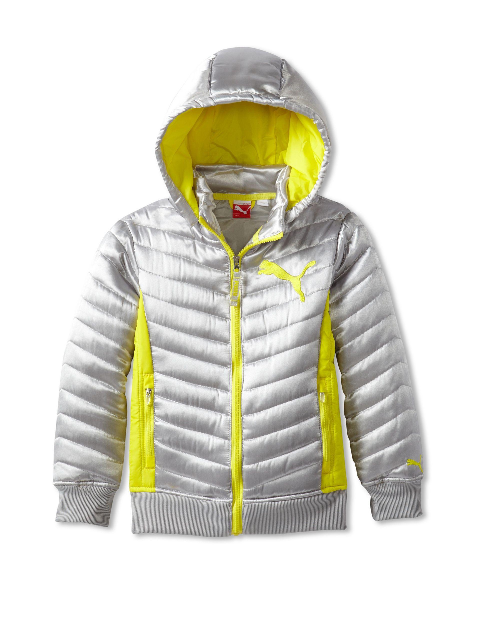 Puma Girl Quilted Puffer Jacket Trim Jacket Girls Outerwear [ 2560 x 1910 Pixel ]