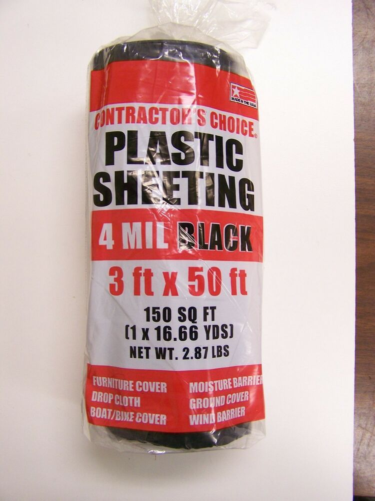 Details About 6 Rolls Poly America Contractor S Choice 4 Mil Black Plastic Sheeting 3 X 50 Black Plastic Sheeting Contractors Plastic