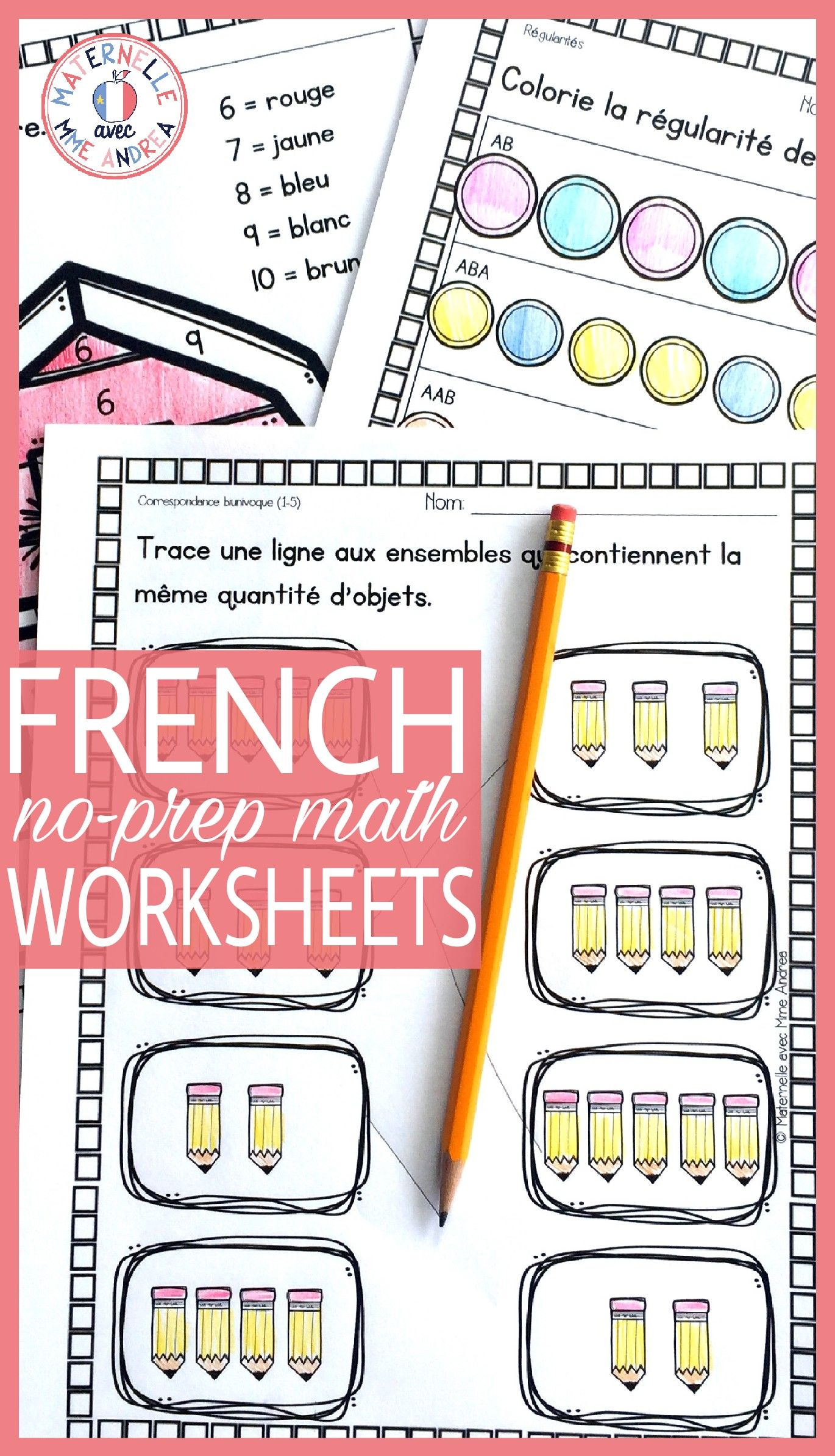 20 No Prep Math Worksheets In French Perfect For Kindergarten Or First Grade Counting Numb Kids Math Worksheets Math Worksheets Kindergarten Math Worksheets