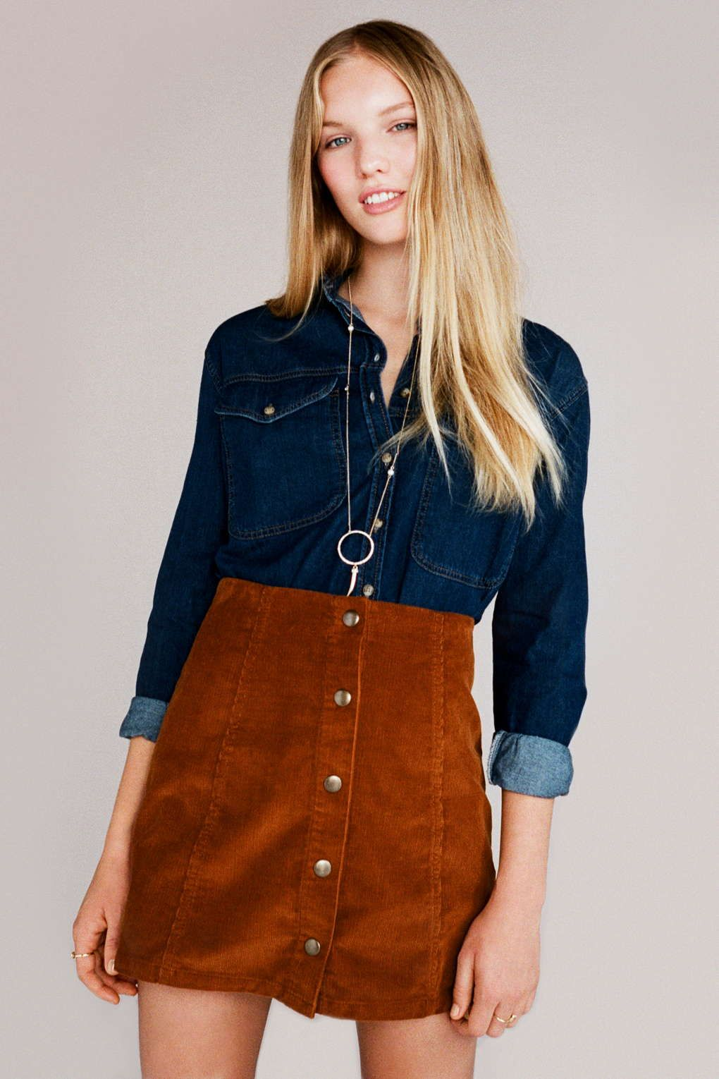Cord Button Front A-Line Skirt | Topshop, Malaysia and Photos