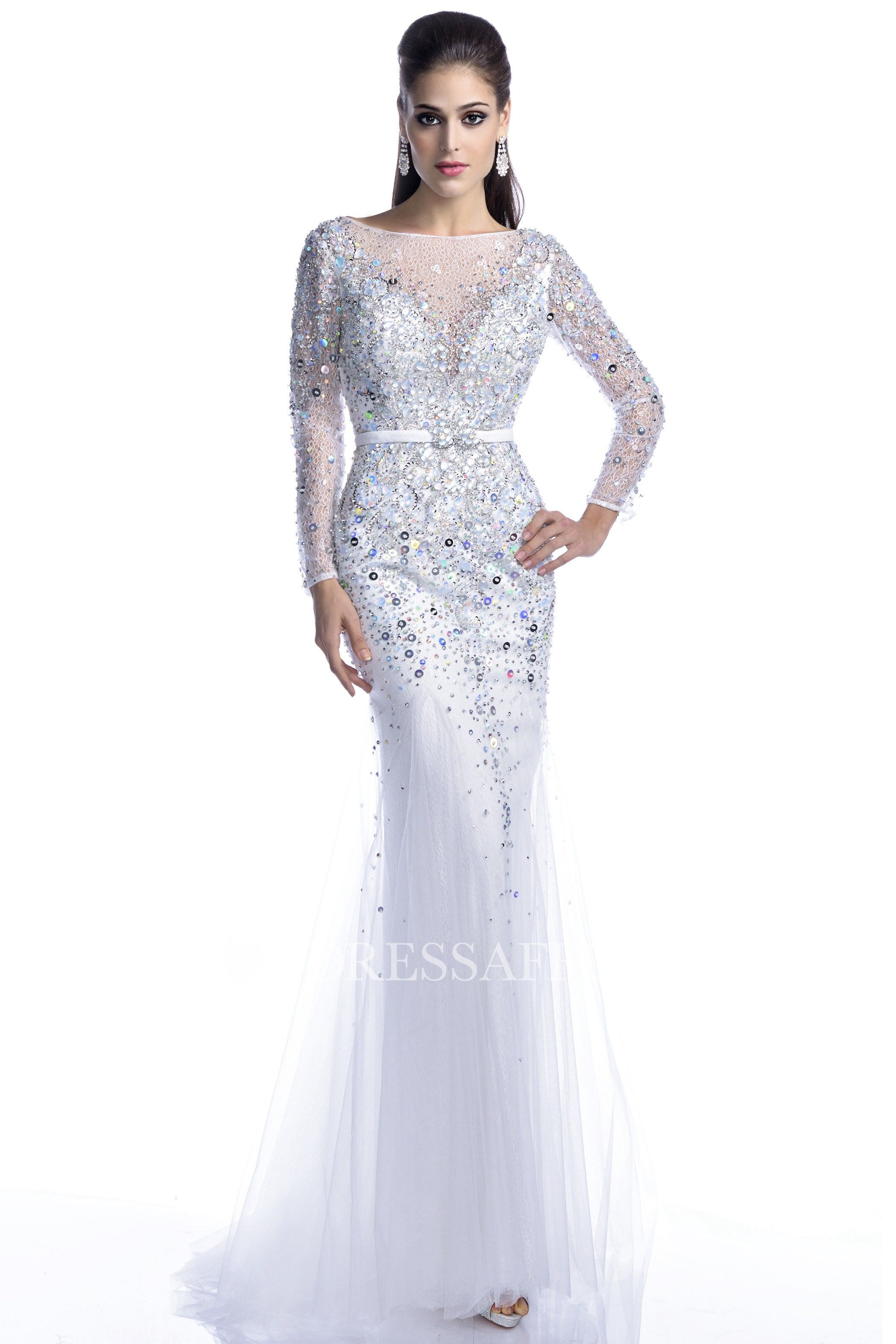 Jeweled illusion long sleeve sheath tulle prom dress with backless