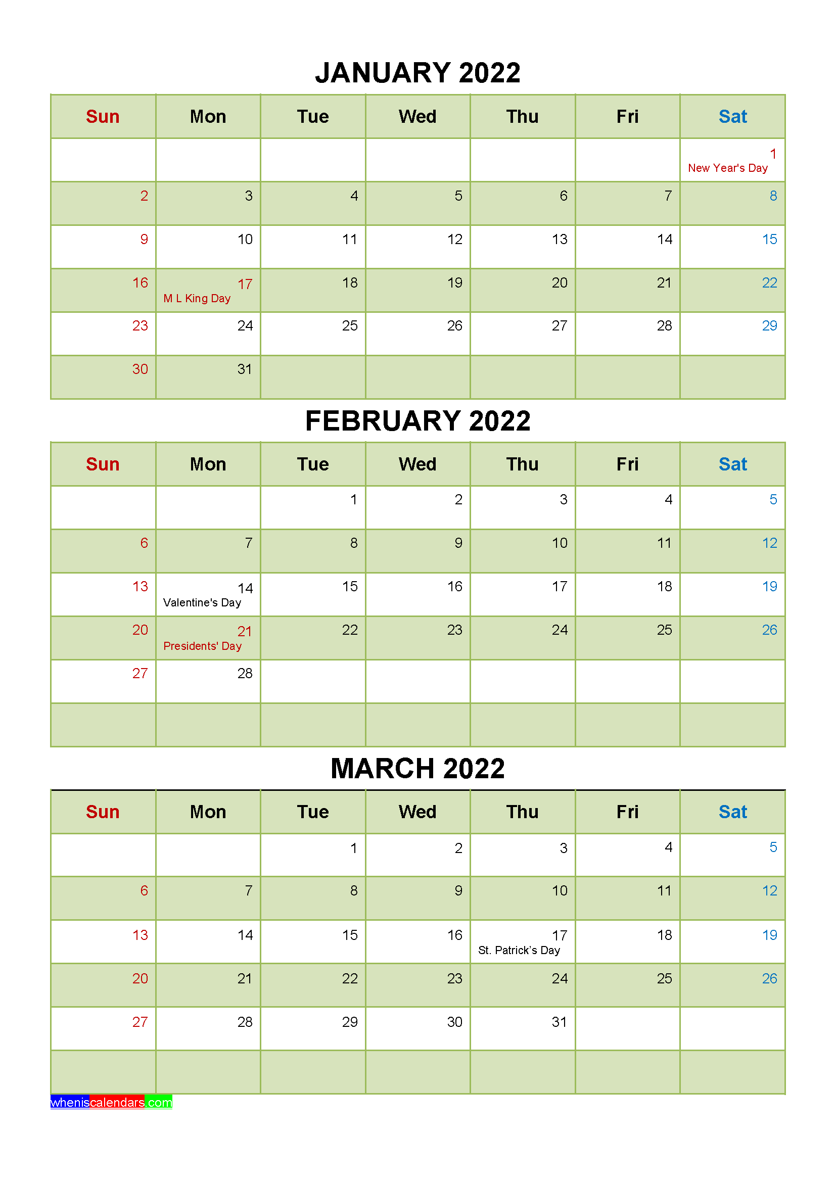 January February March 2022 Calendar With Holidays Printable Four Quarters In 2020 January February March Printable Calendar July Holiday Printables