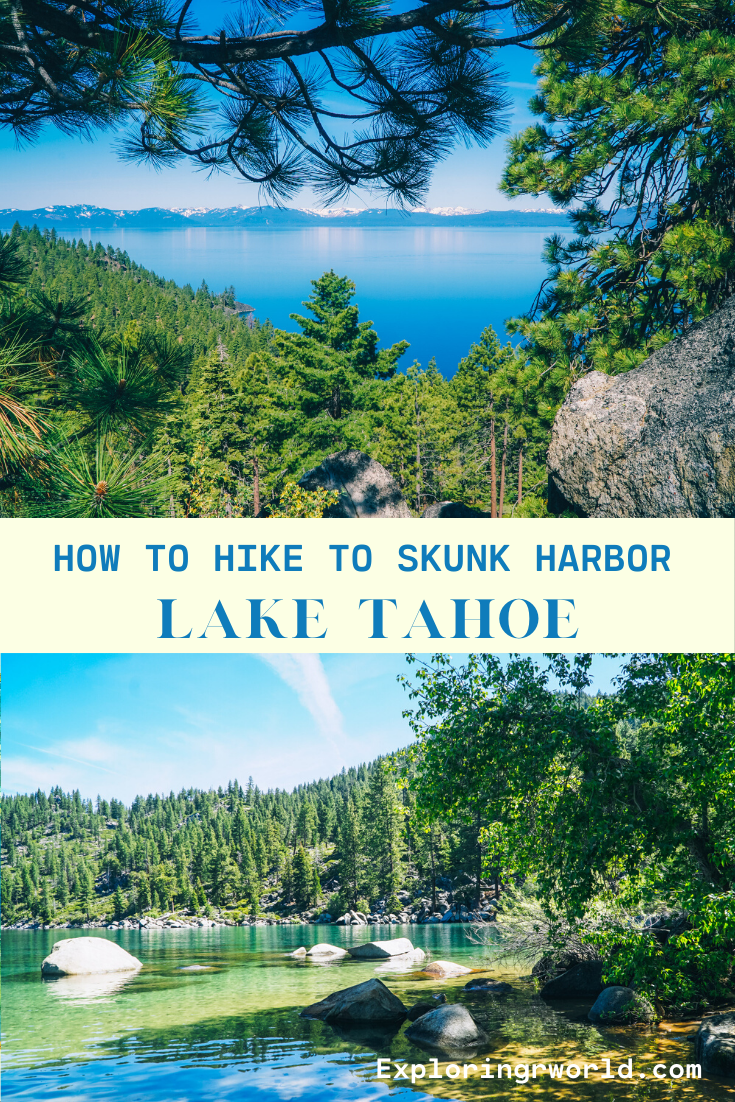 Skunk Harbor is in north Lake Tahoe near Spooner Lake. Hike about a mile from the highway down to the cove and beach. #LakeTahoe #SkunkHarbor #hiking