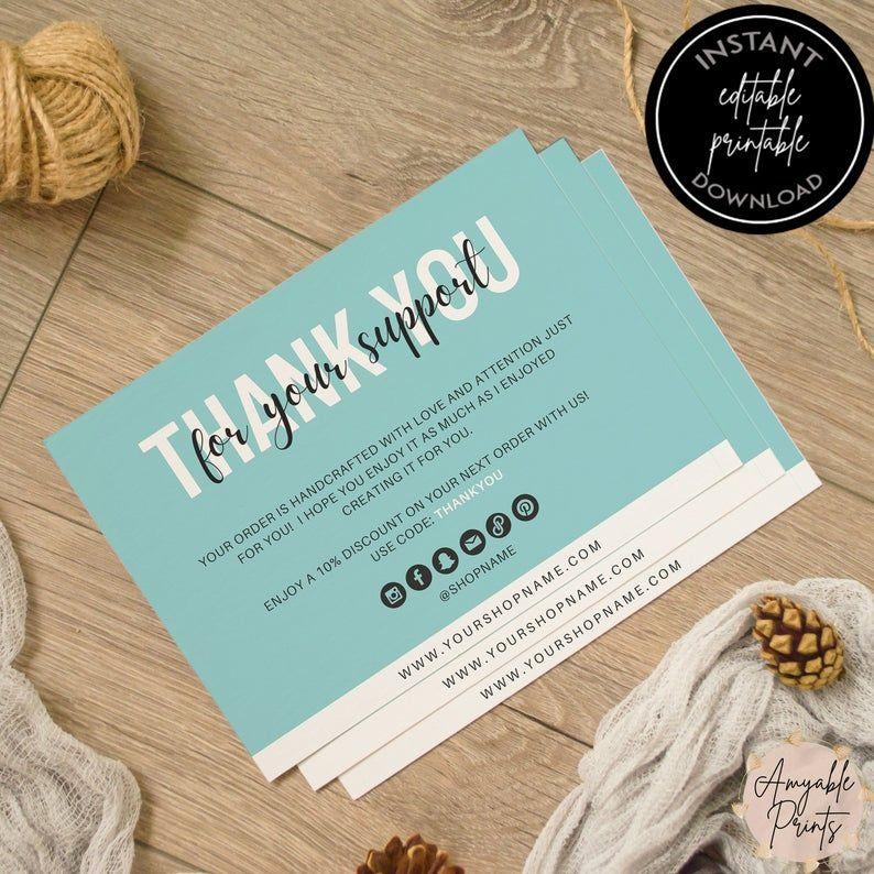 editable teal business thank you card printable for small