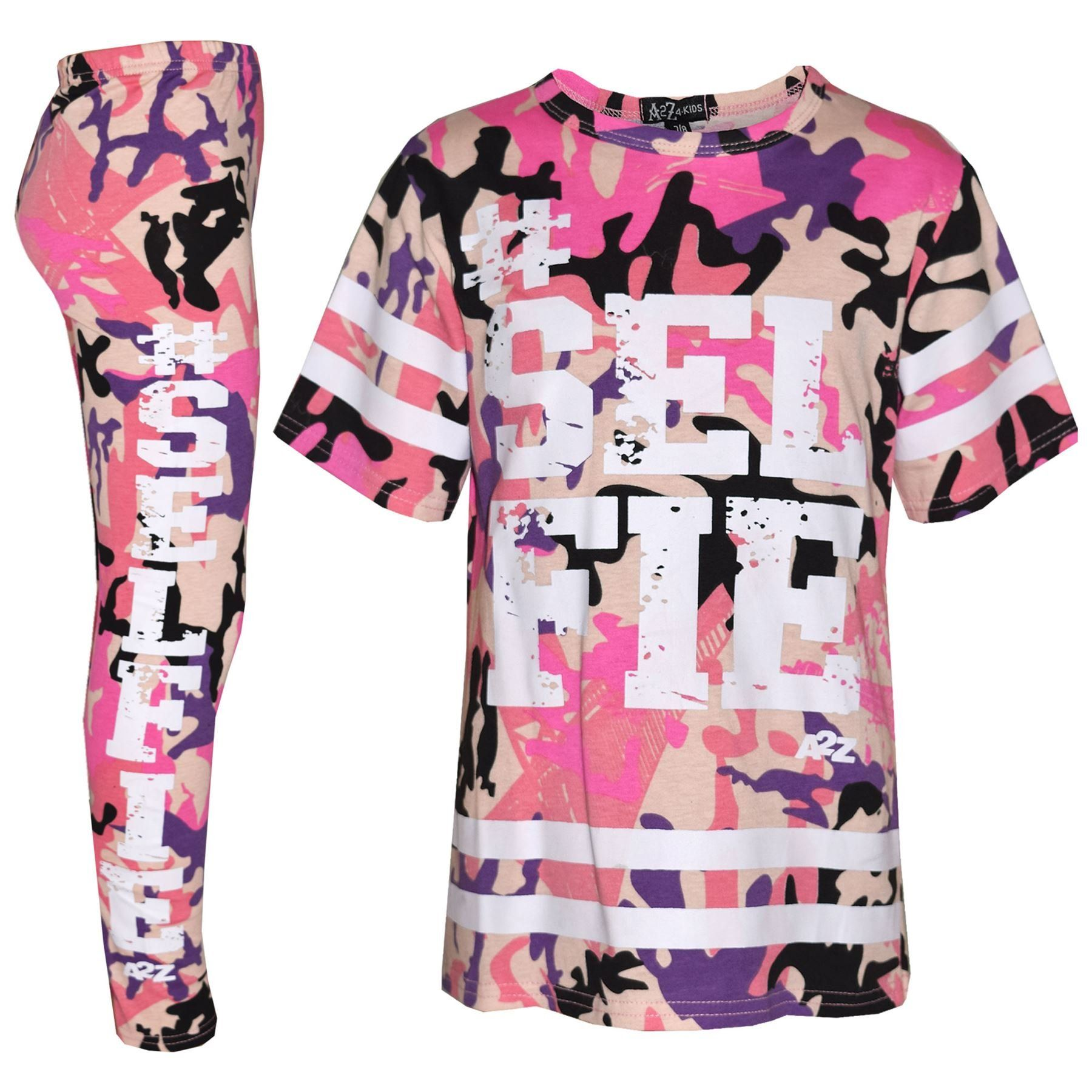 Girls Style Camo Top Leggings Outfit Tracksuit Pink Black Age 7 8 9 10 11 12 13