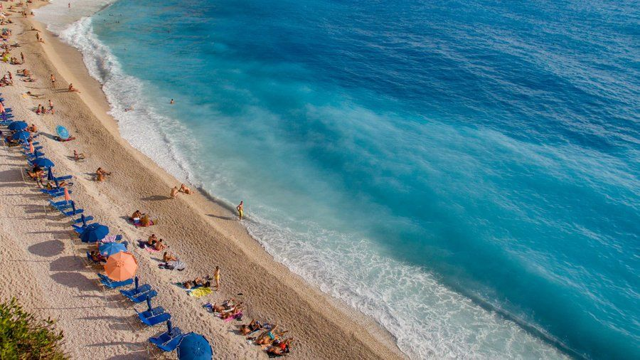 It's hard to find a spot on Lefkada Island that doesn't have spectacular views of the crystal clear Ionian Sea, but Egremnoi (or Egremni) beach on the west coast is particularly stunning. The beach requires a steep hike down some ersatz stairs, which thin