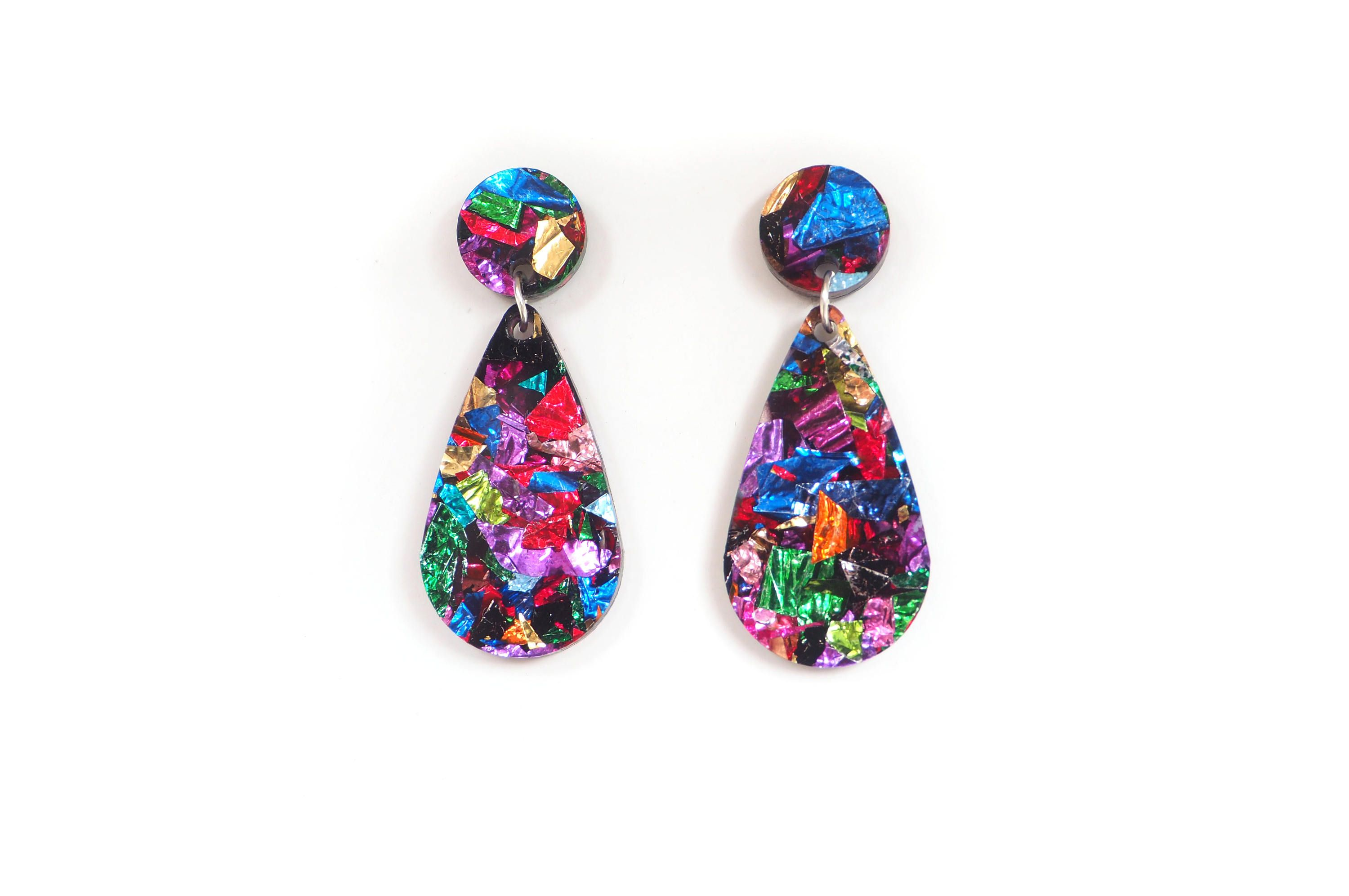 painted psychedelic rainbow pin earrings hippie diamond