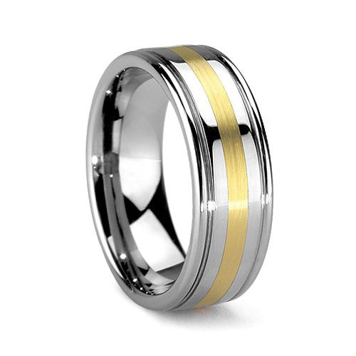 CORONADO 6MM/8MM Polished and Grooved Tungsten Wedding Ring with Gold Inlay