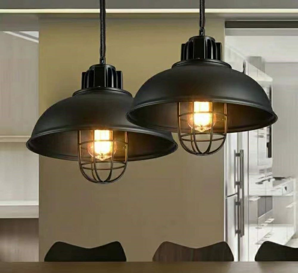 Vintage Rustic Modern Industrial Black Cage Lamp Shade Pendant Ceiling Led Light 7436112878801 Ebay Caged Lamp Rustic Pendant Lighting Led Lights For Sale