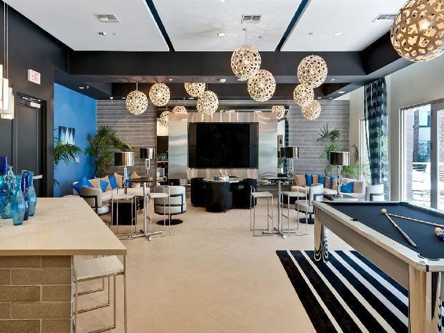 Contemporary game room with imperial spectrum pool table - Game room in house ...