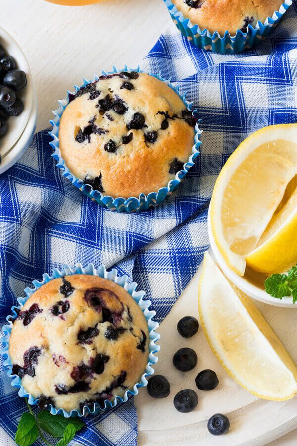 Double Lemony Blueberry Muffins Made With Sugar Lemon Buttermilk Olive Oil Eggs Vanilla In 2020 Blue Berry Muffins Muffin Recipes Blueberry Sweet Treats Recipes