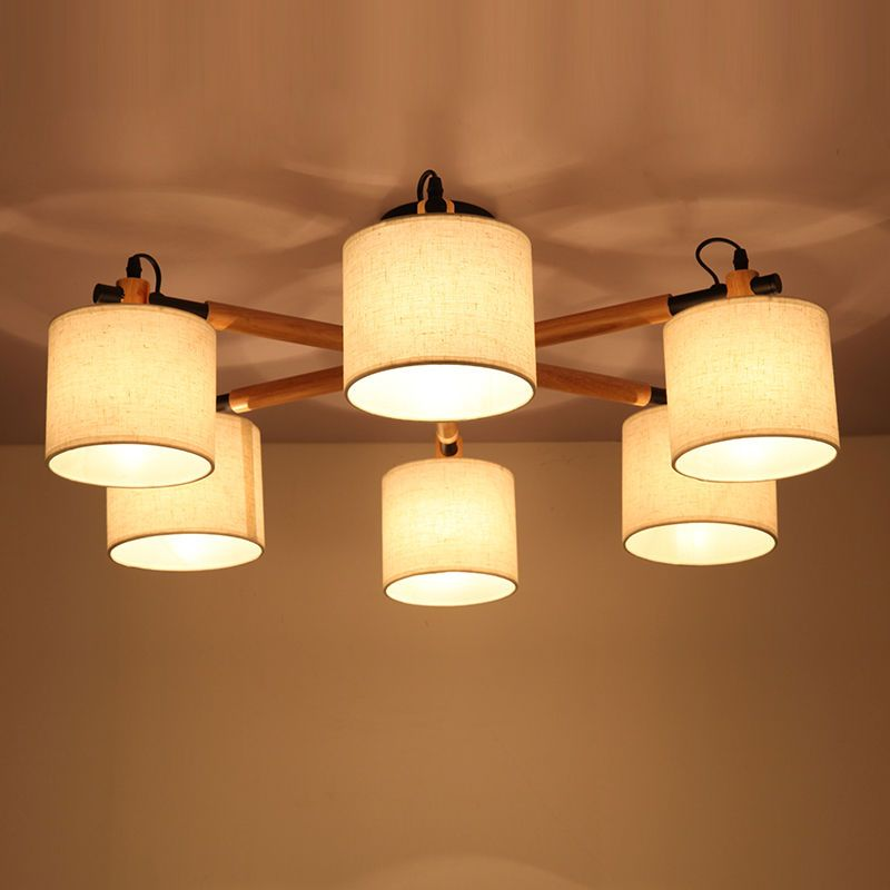 Oak Wood Shade Ceiling Light Fixture Asia Nordic Pendant Lamp Chandelier Bedroom Soleil Asian