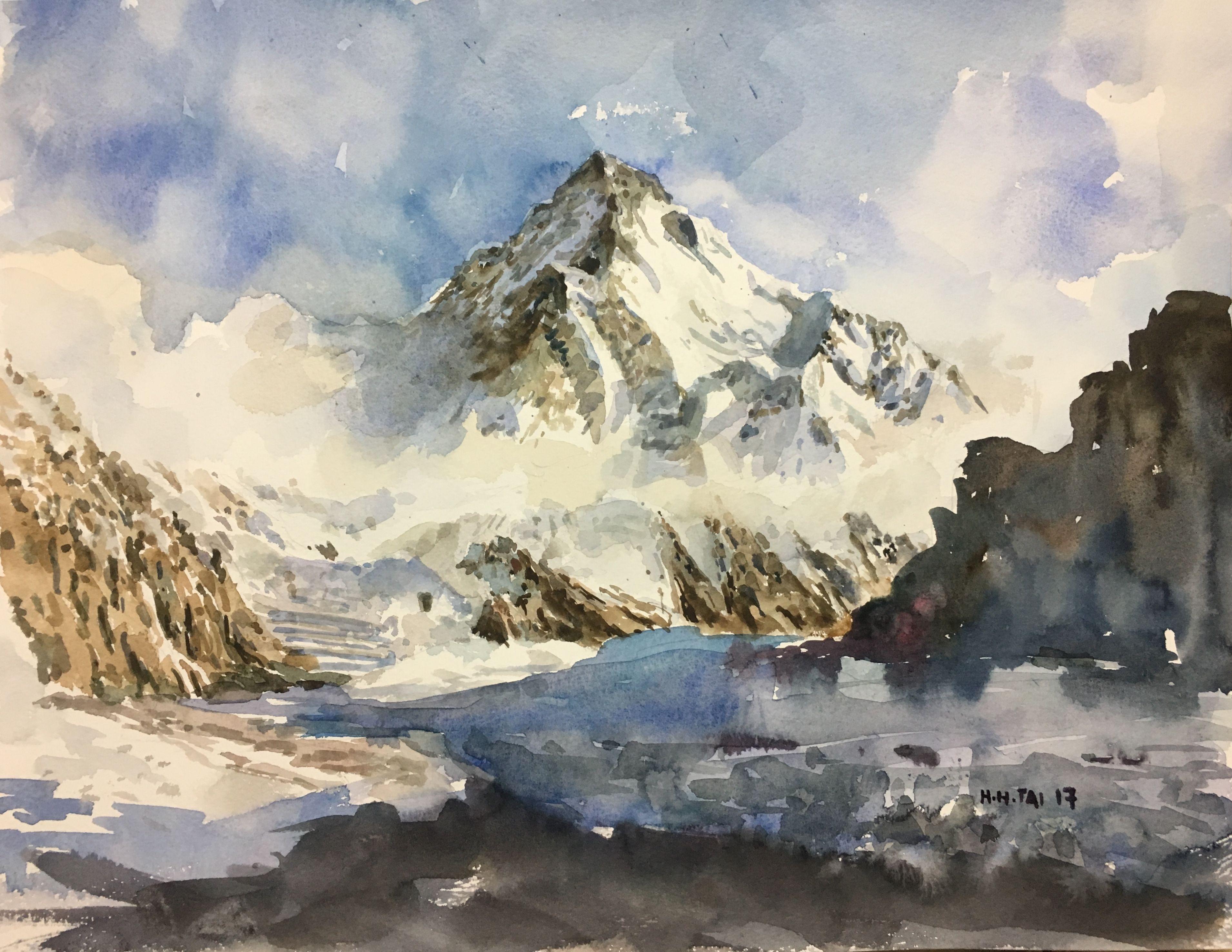 K2 Savage Mountain Watercolour By Brian Tai Watercolor Mountains Landscape Mountains