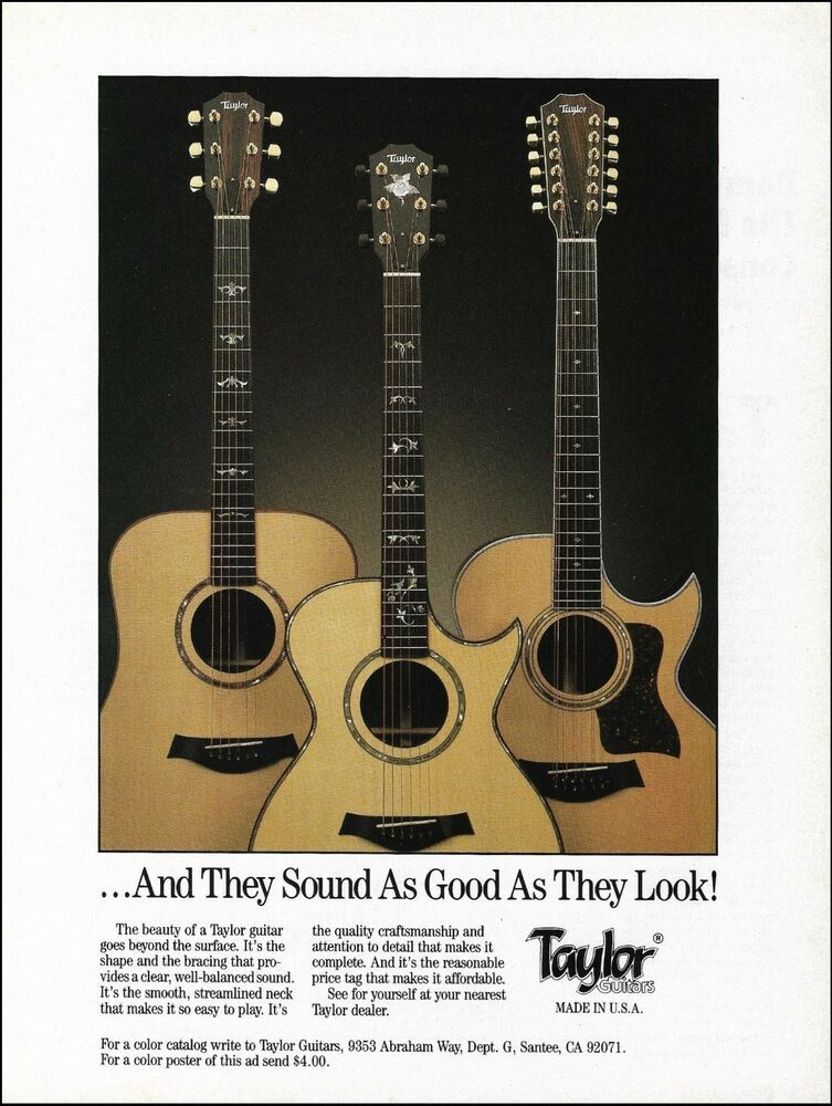 Taylor 6-string & 12-string acoustic guitar 1991 ad 8 x 11