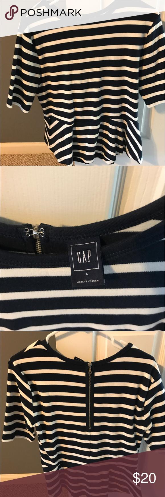Women's gap large peplum top Women's gap large navy and white peplum top GAP Tops Blouses