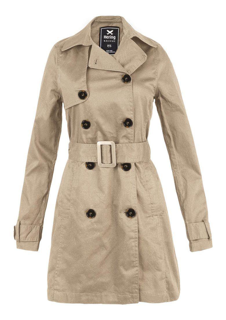 732e9ac0a9 Casaco Trench Coat Feminino Básico Em Tecido De Algodão