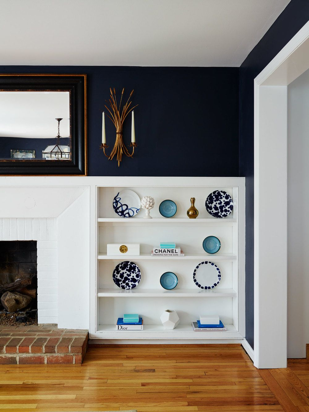 Navy Walls White Trim Bookcases Dining Room Design Navy