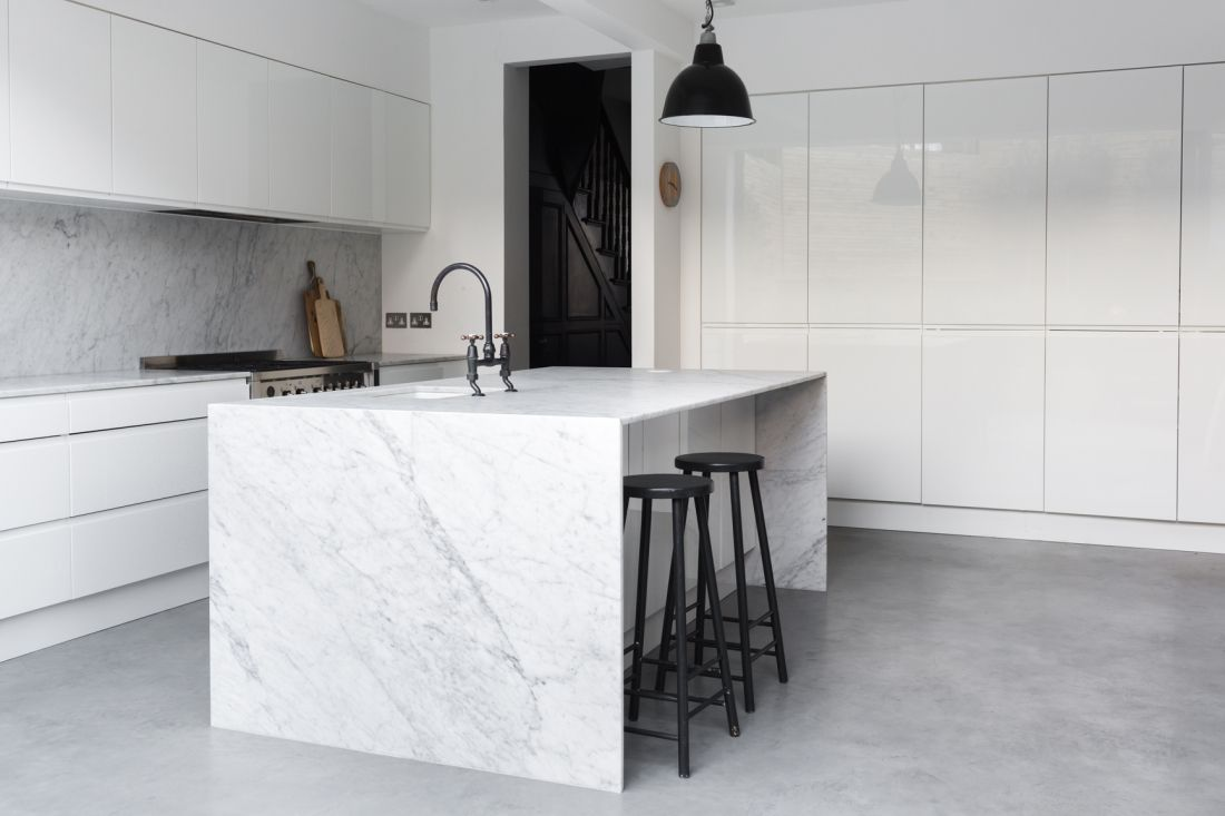Image result for white marble benchtops black cabinets | Кухни ...