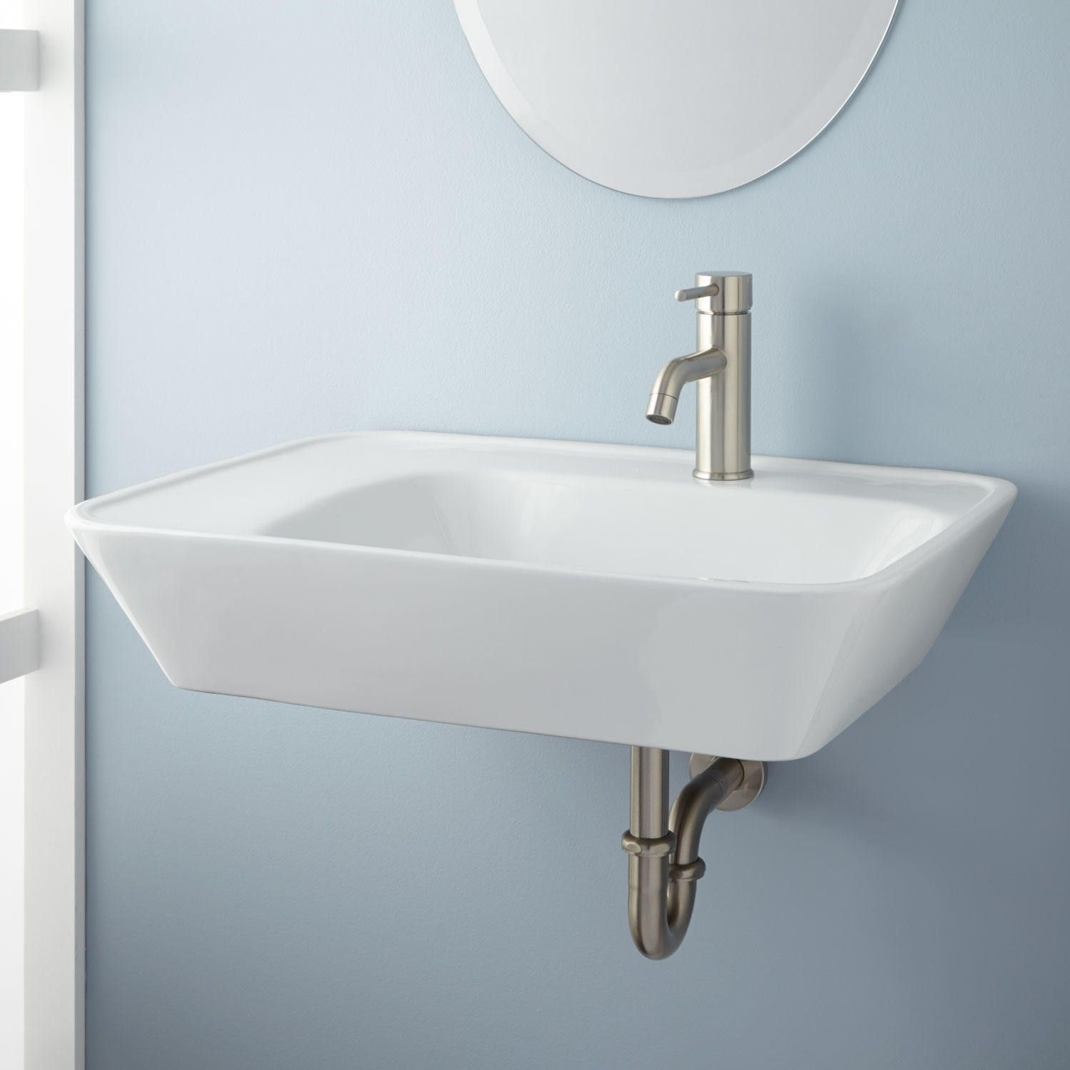 Reina Wall-Mount Bathroom Sink – Left Side Counter $199 | Bathroom ...