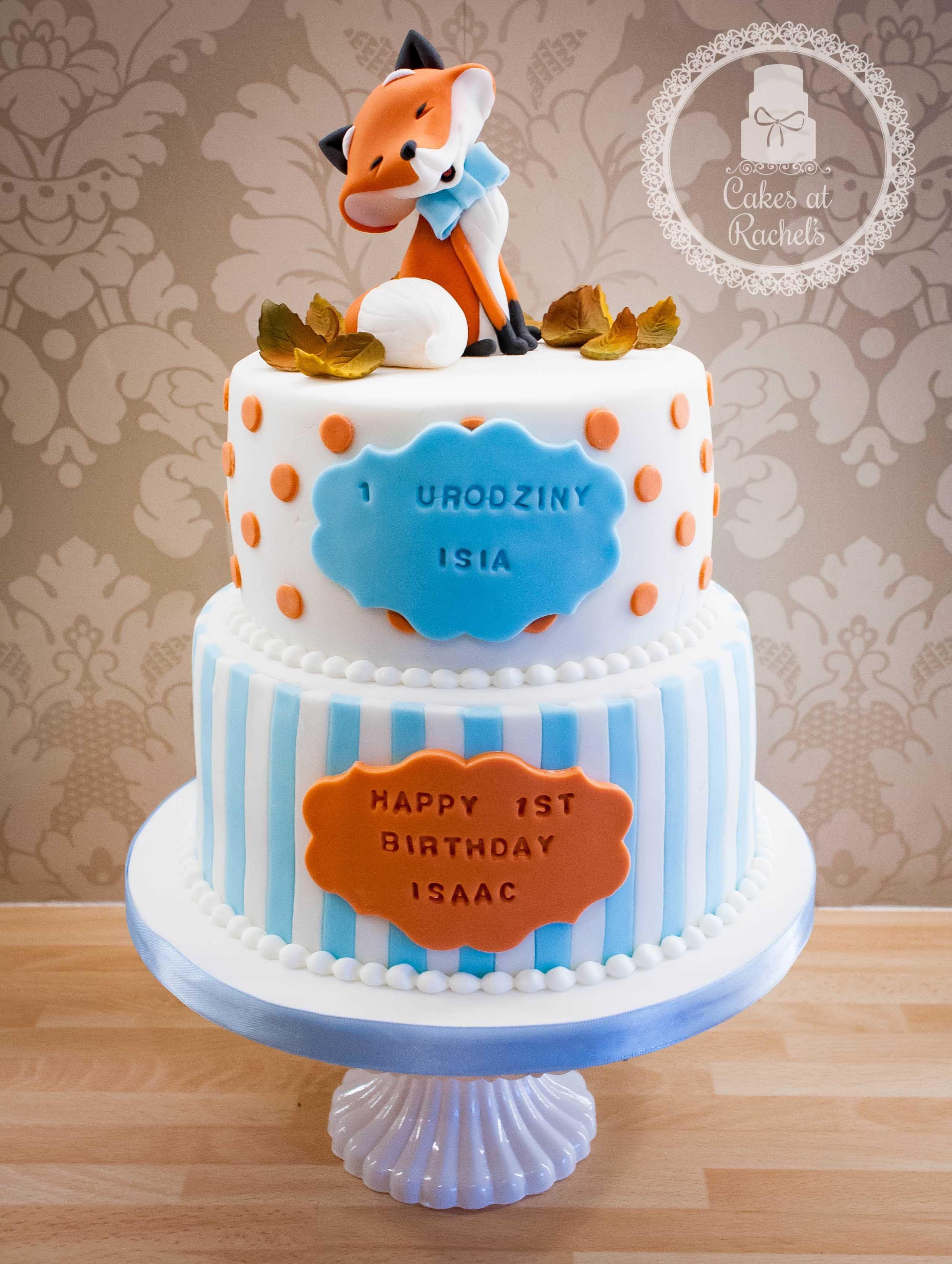 Orange and blue Happy Little Fox 1st Birthday Cake topper