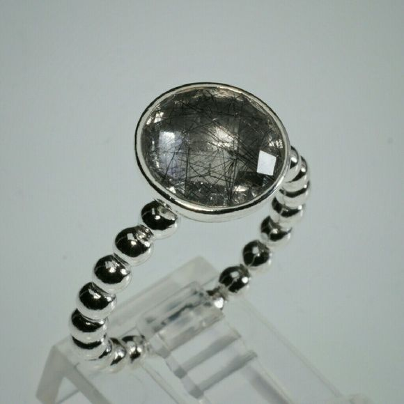 d0dc11691 PANDORA Dark Enchantment ring size 54 Retired PANDORA Dark Enchantment  silver with Tourmalinated Quartz ring, NWOT. Hallmarked S925 ALE.