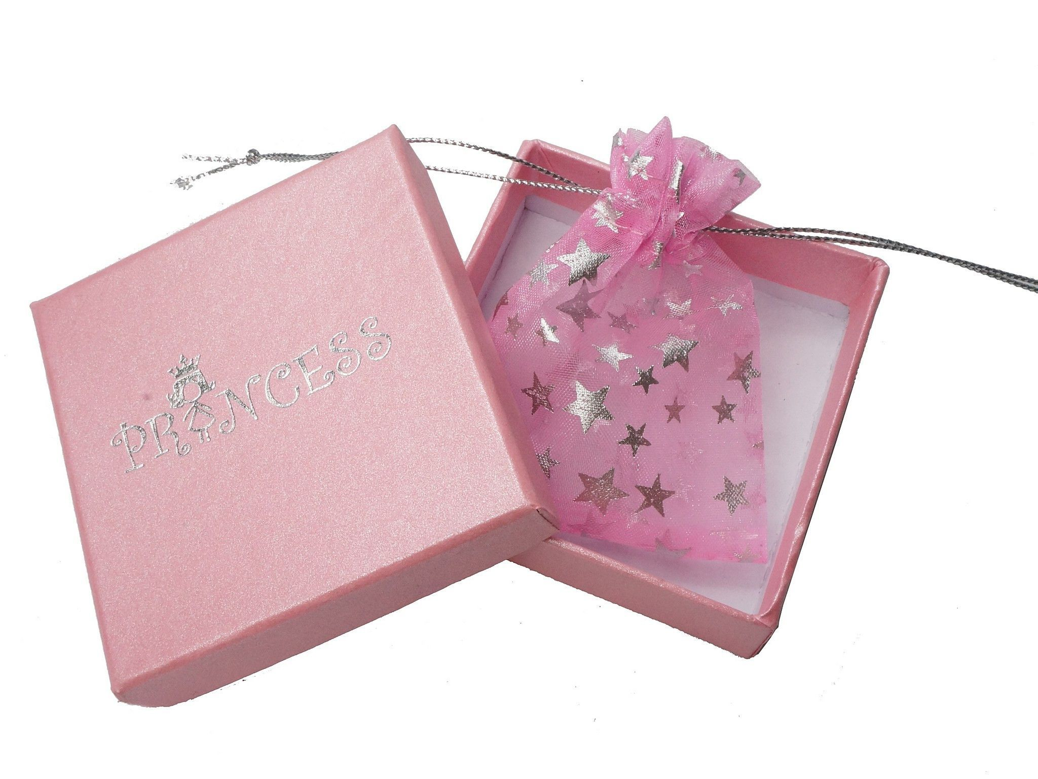 6*6*2.5cm Princess Pink Jewelry Gift Box with Drawstring Pouch, 18 ...
