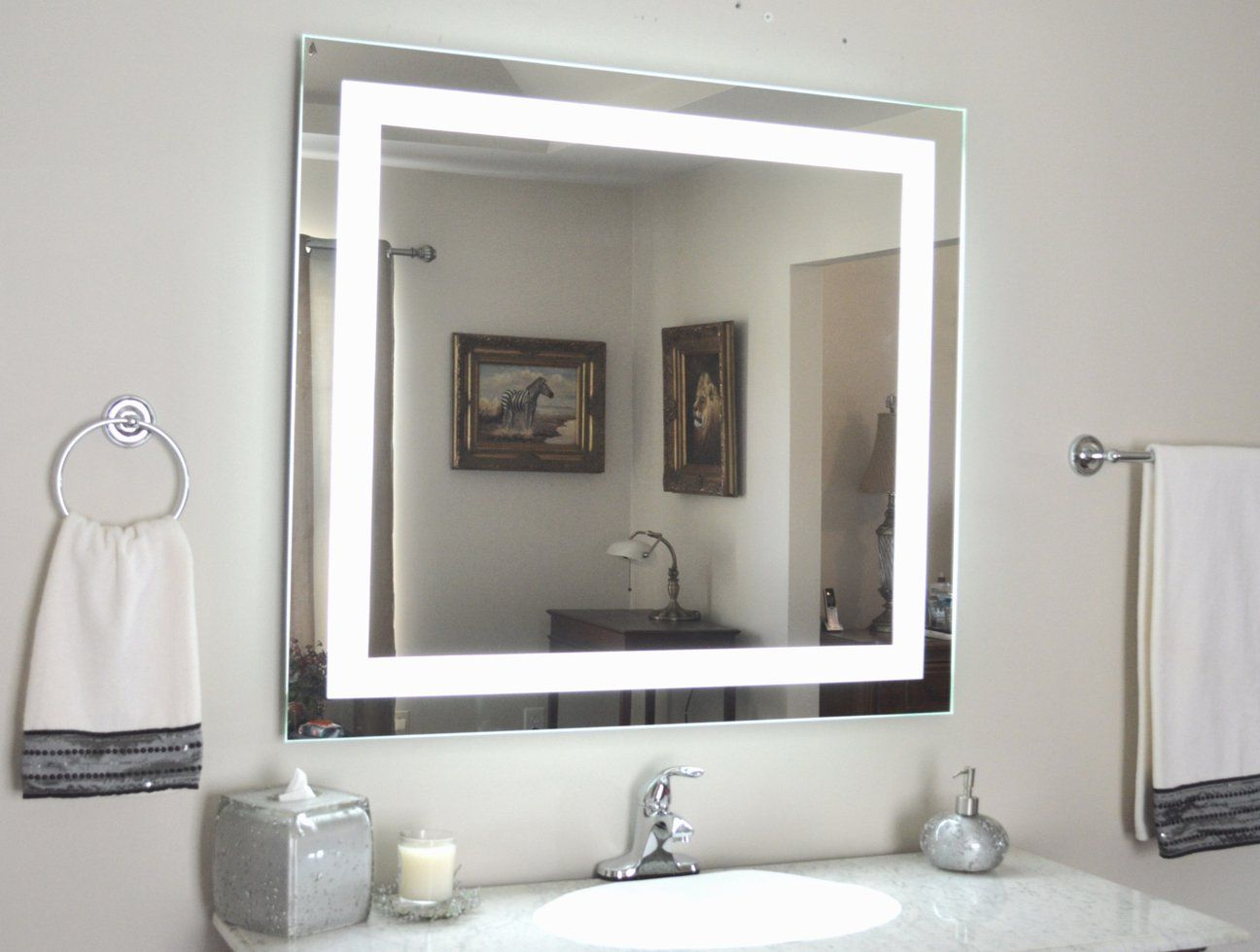 Front Lighted Led Bathroom Vanity Mirror 44 Wide X 36 Tall