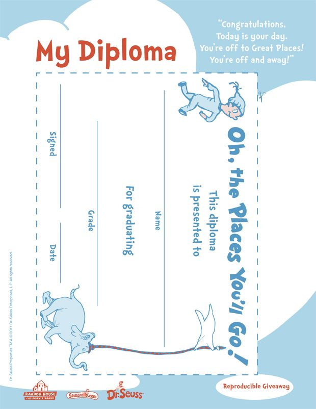 OH the Places You Ll Go Printables | Oh, The Places You'll Go! Diploma