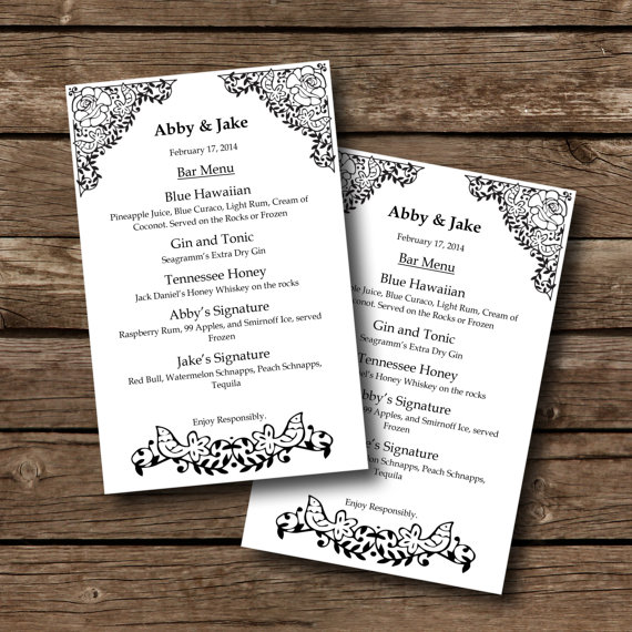 Editable Menu Template White With By Sasafrasprintables On Etsy