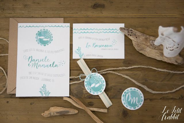 [WEDDING] Watercolor Wedding Suite Summer Sea_partecipazione matrimonio designed by Le Petit Rabbit