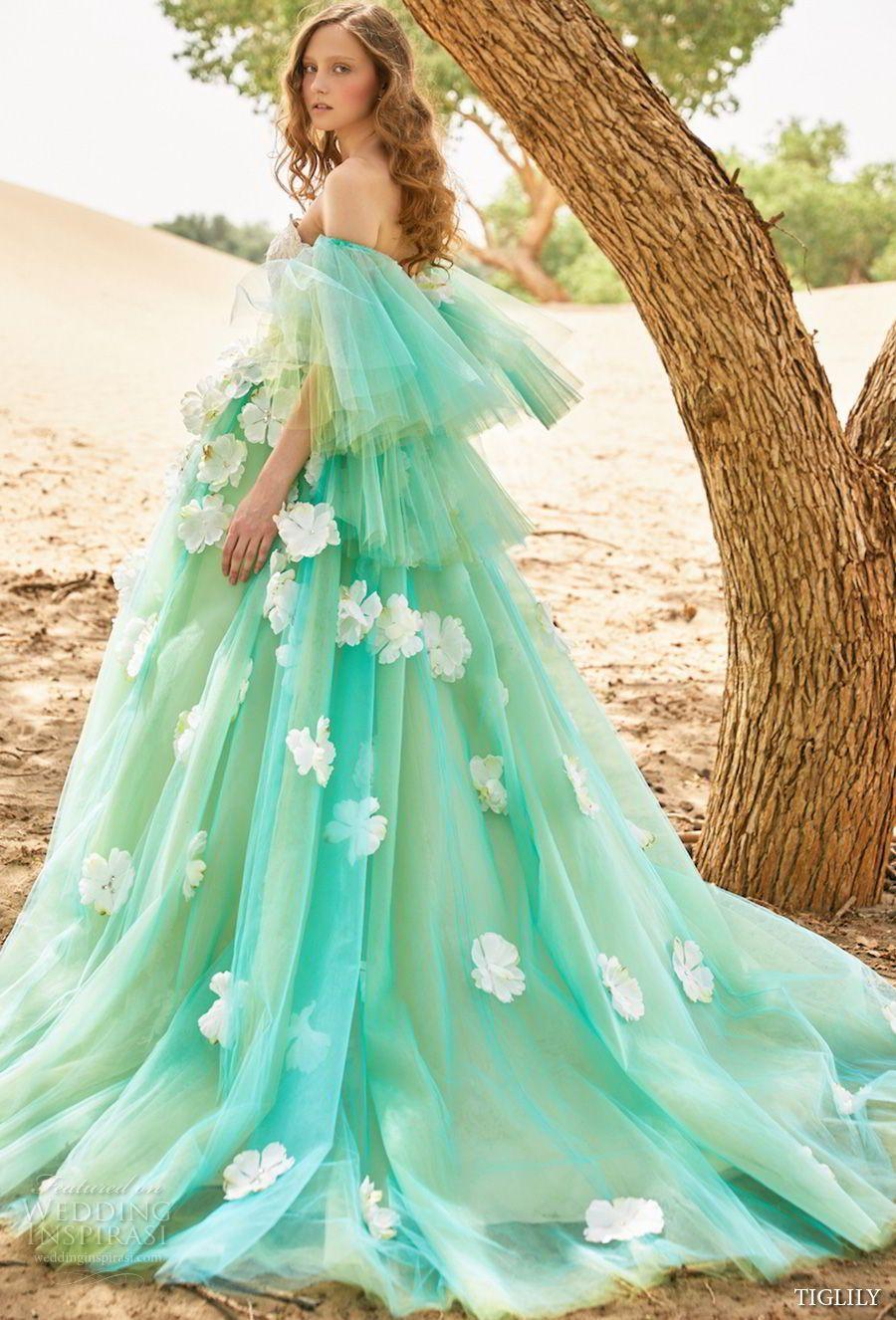 Tiglily bridal strapless full embellishment princess green