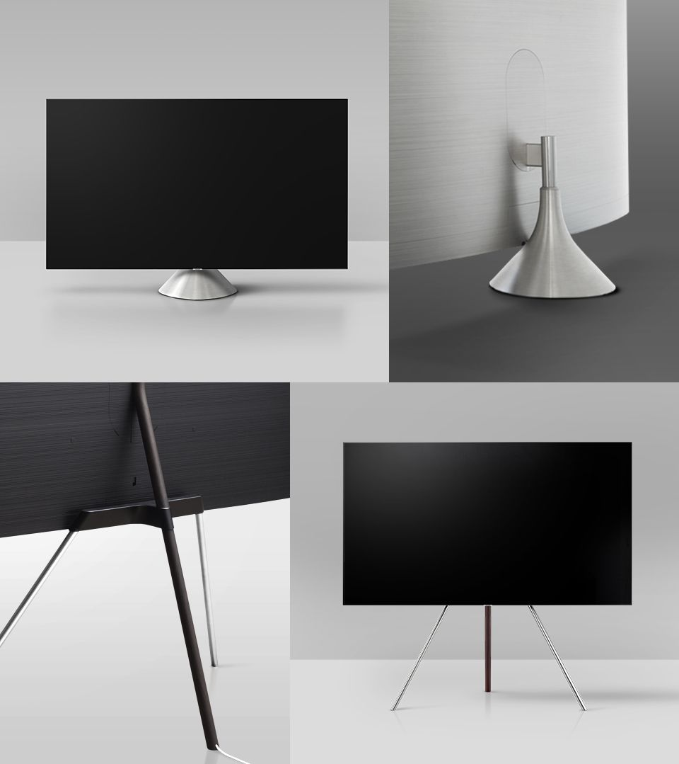 Gravity Stand And Studio Stand Of Qled Tv Stand Design Tv Design Lounge Furniture